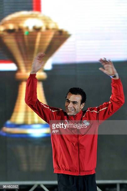 Egyptian goalkeeper Essam ElHadary gestures as he celebrates his team's win at the African Cup of Nations at Cairo Stadium on February 5 2010 Egypt...