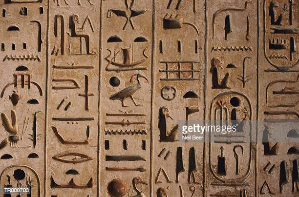 Egyptian hieroglyphics, close-up
