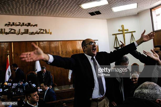 Egyptian lawyer and leftist opposition figure Khaled Ali celebrates in courthouse in Cairo after the verdict Supreme Administrative Court said two...