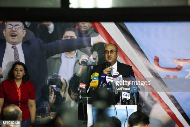Egyptian lawyer and rights activist Khaled Ali announces the launch of his campaign to run in Egypt's 2018 elections during a press conference in...
