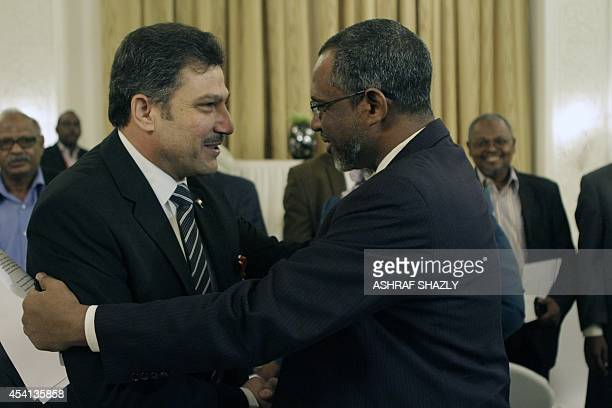 Egyptian Minister of Irrigation Hossam Maghazi shakes hands with Sudan's Water Resources and Electricity Minister Muattaz Musa Abdallah Salim during...