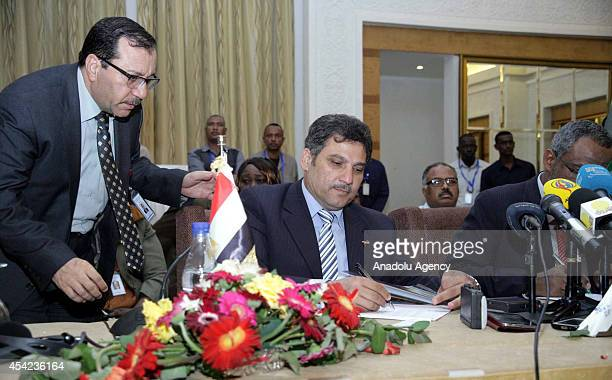Egyptian Minister of Irrigation Hossam Maghazi takes part in the last day of a Nile River forum in the Sudanese capital Khartoum on August 26 2014...