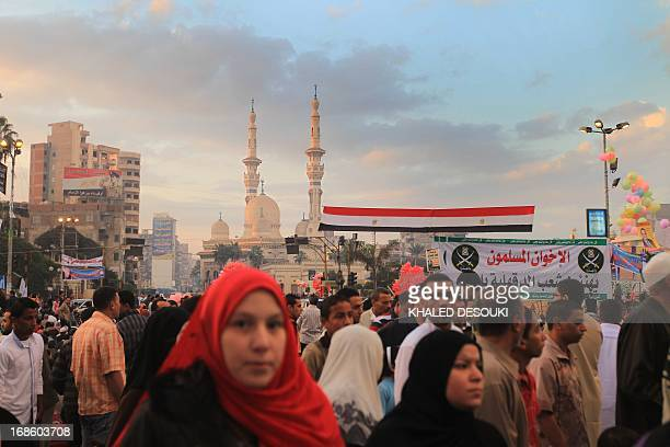Egyptian Muslim women gather to pray as they celebrate Eid alAdha in the Nile Delta city of Mansura some 120 north of Cairo on November 6 as Muslims...