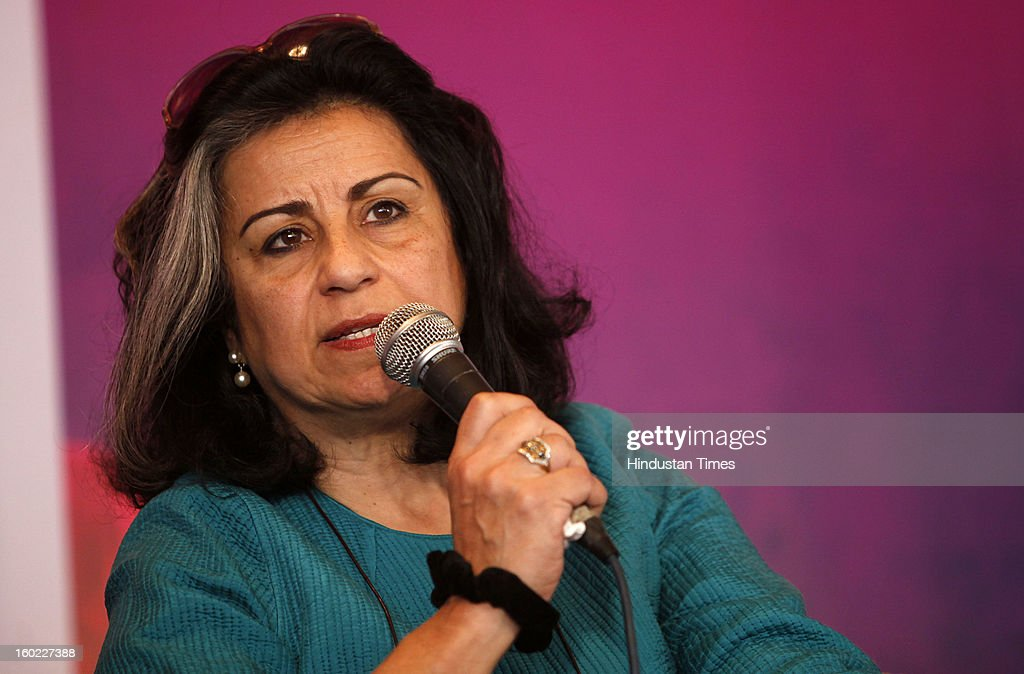 Egyptian novelist and political commentator Ahdaf Soueif at the Jaipur Literature Festival on January 28, 2013 in Jaipur, India.