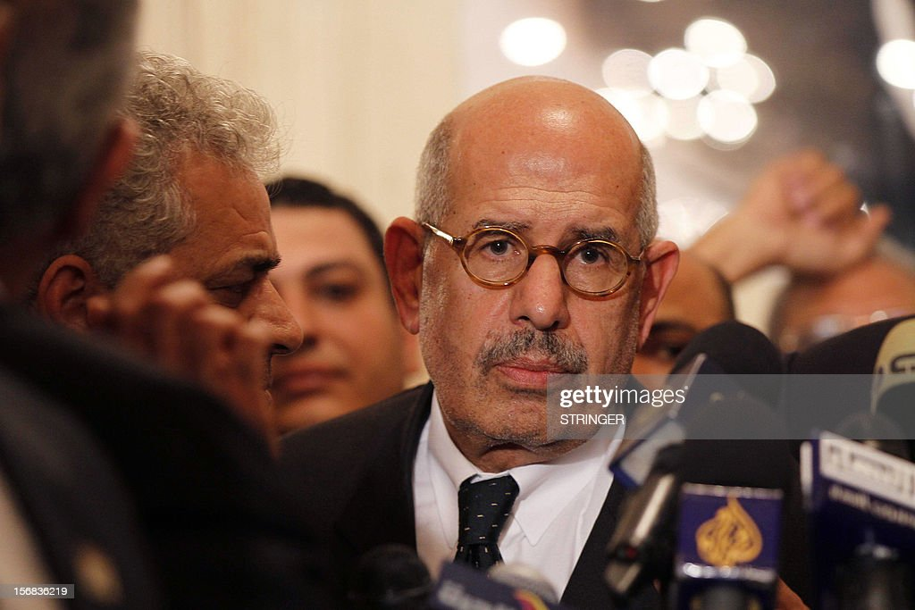 Egyptian opposition leader and Nobel Prize laureate Mohamed ElBaradei leaves at the end of a joint press conference on November 22, 2012, in Cairo. Egyptian opposition forces today denounced a declaration by President Mohamed Morsi granting him sweeping powers as a 'coup' and called for nationwide protests.