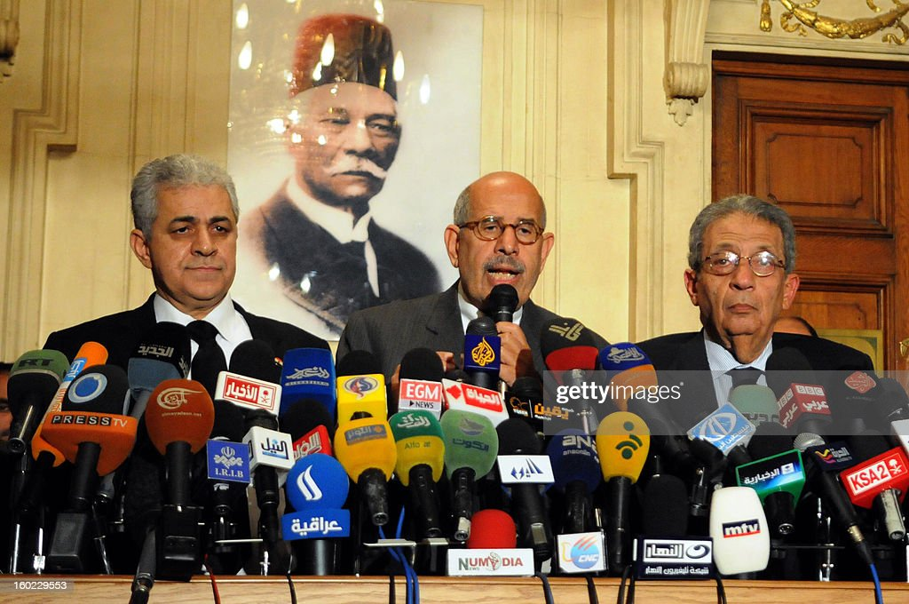 Egyptian opposition leader and Nobel Prize laureate Mohamed ElBaradei (C), former presidential candidate Egyptian Member of Parliament Hamdeen Sabbahy (L) and former Arab League secretary general Amr Mussa attend a press conference in Cairo on January 28, 2013. Egypt's main opposition bloc has called for demonstrations nationwide on February 1, to achieve the 'goals of the revolution', after turning down an invitation by President Mohamed Morsi for talks.
