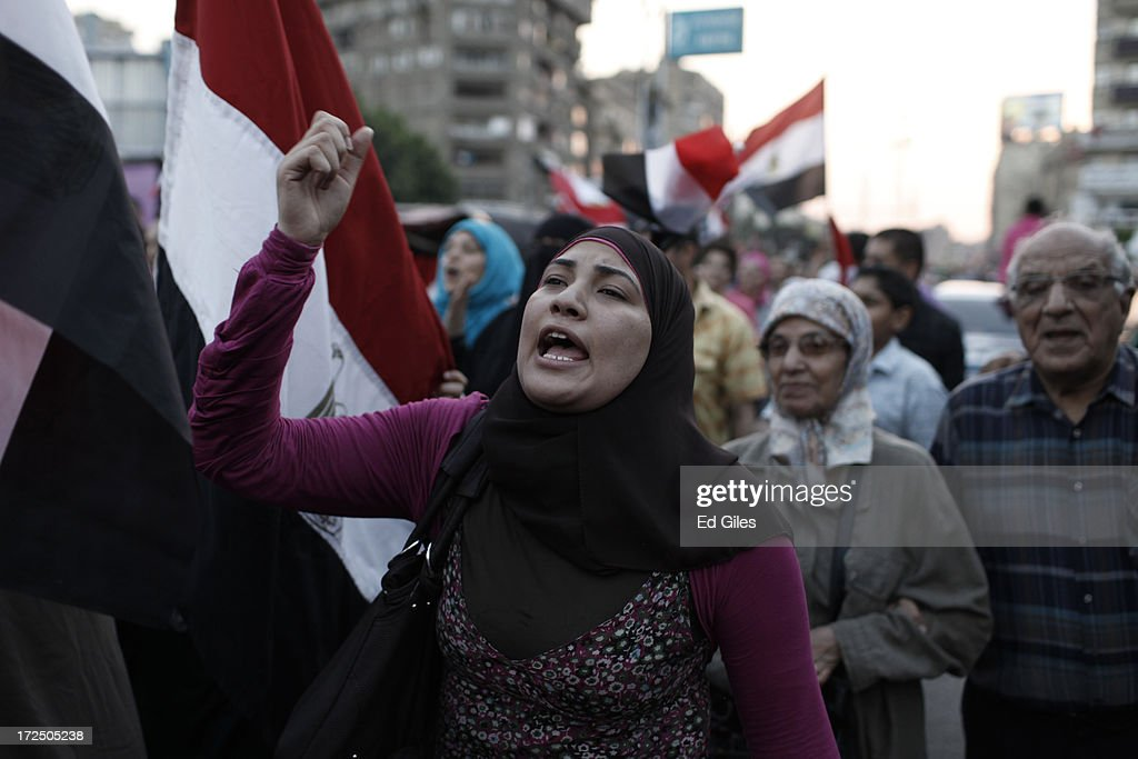 Egyptian opposition protesters demonstrate at the Egyptian Presidential Palace in the suburb of Heliopolis on July 2, 2013 in Cairo, Egypt. In a statement on July 1, the Egyptian Army asked Egyptian President Mohammed Morsi to resolve mass demonstrations against his continued rule or face intervention by the military within 48 hours. Crowds of pro- and anti-government protesters gathered in locations across Egypt on June 30, the day of a series of nation-wide mass demonstrations entitled 'Tamarod', or 'Rebel'. The 'Tamarod' campaign, organised by a coalition of opposition political groups and planned to take place on the first anniversary of Egyptian President Mohammed Morsi's election to the country's Presidency, aims to bring down the government of President Morsi through country-wide demonstrations.
