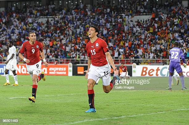 Egyptian players celebrate winning the Africa Cup of Nations final match between Ghana and Egypt from Universitaria Stadium on January 31 2010 in...