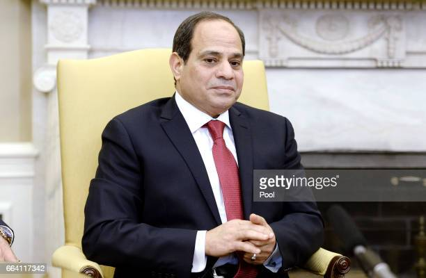 Egyptian President Abdel Fattah Al Sisi looks on as he meets with US President Donald Trump in the Oval Office of the White House on April 3 2017 in...