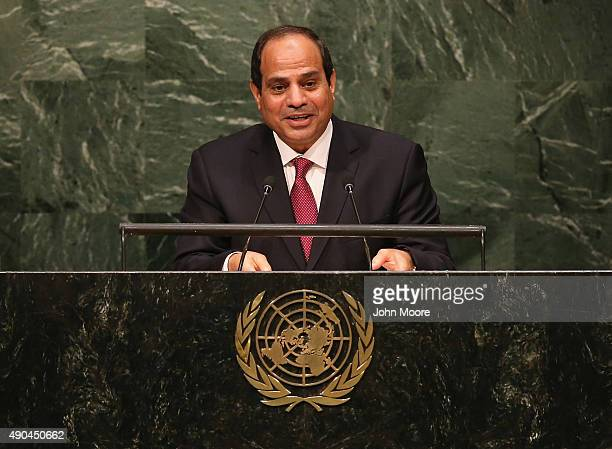 Egyptian President Abdel Fattah AlSisi addresses the United Nations General Assembly on September 28 2015 in New York City World leaders gathered for...