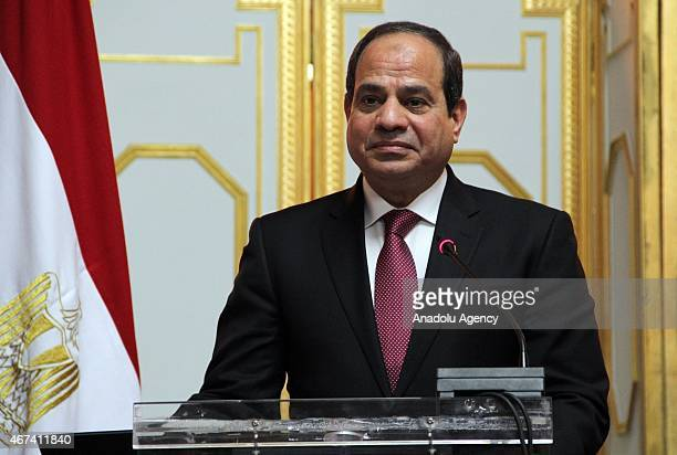 Egyptian President Abdel Fattah alSisi and Ethiopian Prime Minister Hailemariam Desalegn attend a joint press conference at the Ethiopian National...