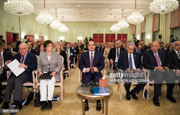Egyptian President Abdel Fattah alSisi and German Economy and Energy Minister Brigitte Zypries attend the 4th session of the GermanEgyptian Joint...