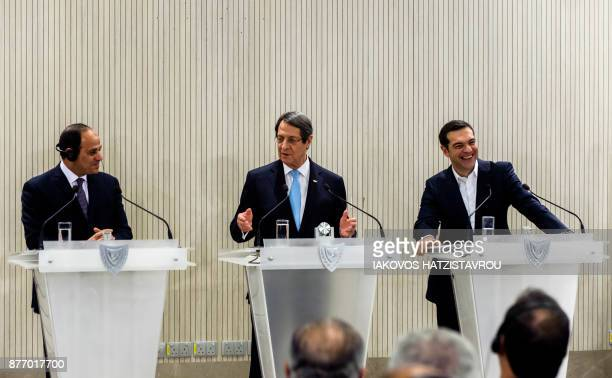 Egyptian President Abdel Fattah alSisi Cypriot President Nicos Anastasiades and Greek Prime Minister Alexis Tsipras give a press conference at the...