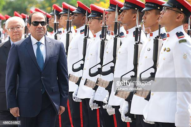 Egyptian President Abdel Fattah AlSisi inspects the guard of honour during the official welcome ceremony accompanied by Singapore President Tony Tan...