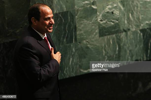 Egyptian President Abdel Fattah alSisi pauses on the podium after addressing the United Nations General Assembly on September 28 2015 in New York...