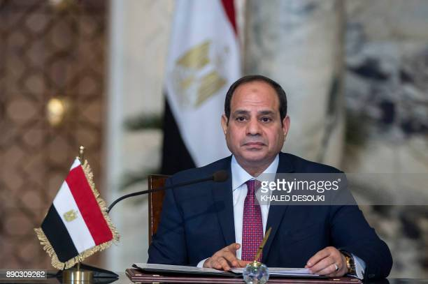 Egyptian President Abdel Fattah alSisi speaks on during a press conference with his Russian counterpart following their talks at the presidential...