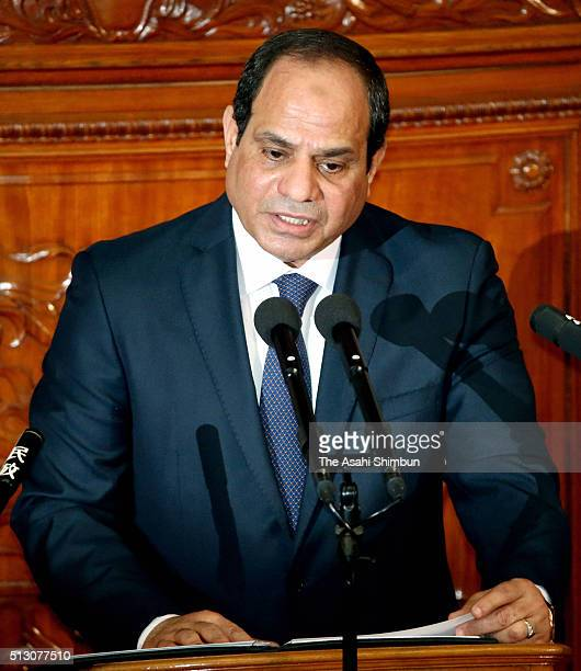 Egyptian President Abdel Fattah elSisi addresses at the diet on February 29 2016 in Tokyo Japan Abdel Fattah elSisi is on fourday tour to Japan