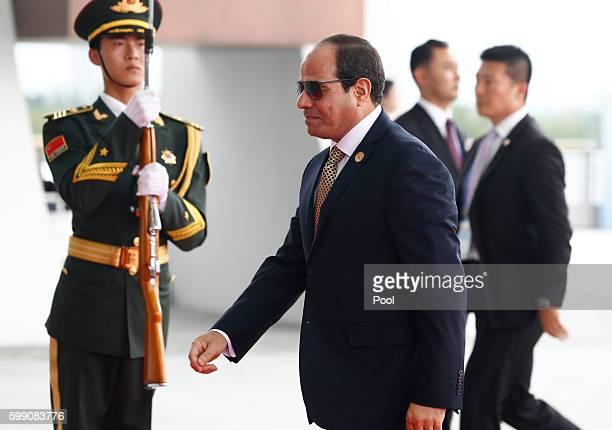 Egyptian President Abdel Fattah elSisi arrives at the Hangzhou International Expo Center on September 4 2016 in Hangzhou China World leaders are...