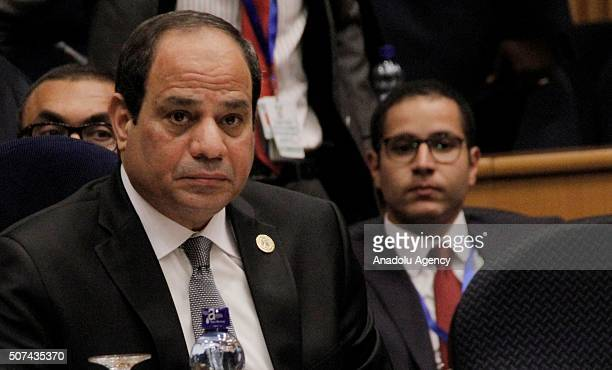 Egyptian President Abdel Fattah elSisi attends the 28th African Union Peace and Security Council Summit in Addis Ababa Ethiopia on January 29 2016