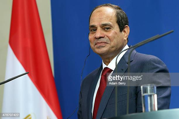 Egyptian President Abdel Fattah elSisi listens during a news conference with German Chancellor Angela Merkel on June 3 2015 in Berlin Germany The...