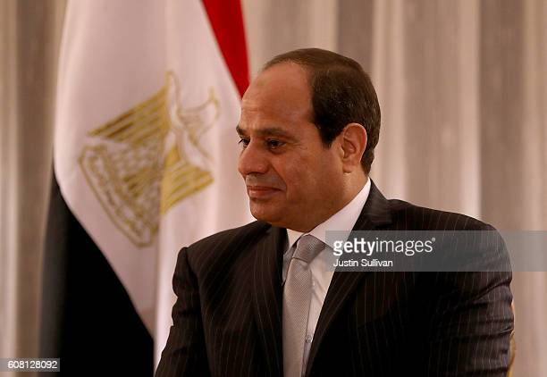 Egyptian president Abdel Fattah ElSisi looks on during a meeting with democratic presidential nominee former Secretary of State Hillary Clinton at...