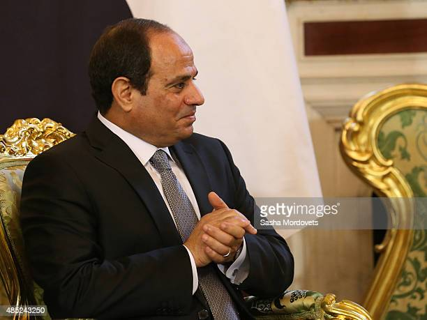 Egyptian President Abdel Fattah ElSisi meets with Russian President Vladimir Putin in the Grand Kremlin Palace on August 26 2015 in Moscow Russia The...