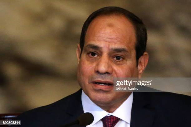 Egyptian President Abdel Fattah elSisi speaks during RussianEgyptian meeting in Cairo Egypt December 11 2017 Putin is on a oneday trip to Syria Egypt...