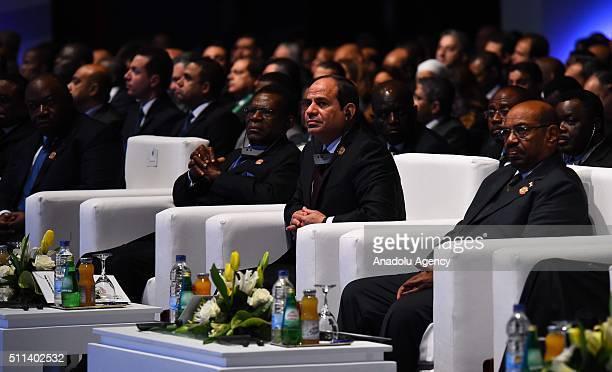 Egyptian President Abdel Fattah elSisi Sudanese President Omar alBashir President of Equatorial Guinea Teodoro Obiang Nguema Mbasogo attend African...