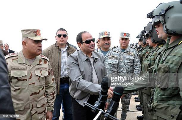 Egyptian President Abdel Fattah elSisi visits pilots working at military base in Marsa Matruh district of Egypt near the border with Libya on...