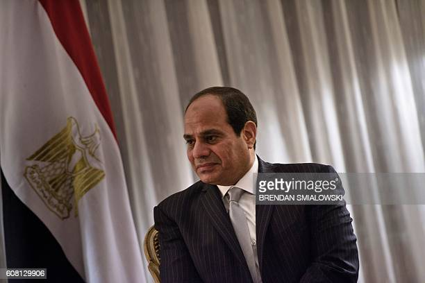Egyptian President Abdel Fattah elSisi waits for a meeting with Democratic presidential nominee Hillary Clinton at the Palace Hotel on September 19...
