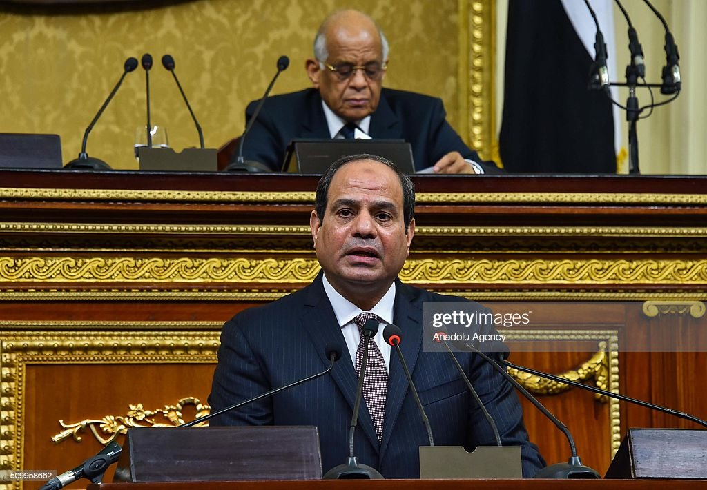 Egyptian President Abdel Fettah al-Sisi delivers a speech during the new legislation opening session at the House of Representatives in Cairo, Egypt on February 13, 2016.