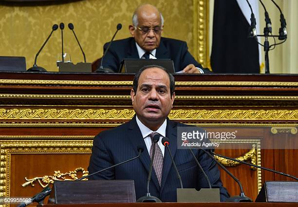 Egyptian President Abdel Fettah alSisi delivers a speech during the new legislation opening session at the House of Representatives in Cairo Egypt on...