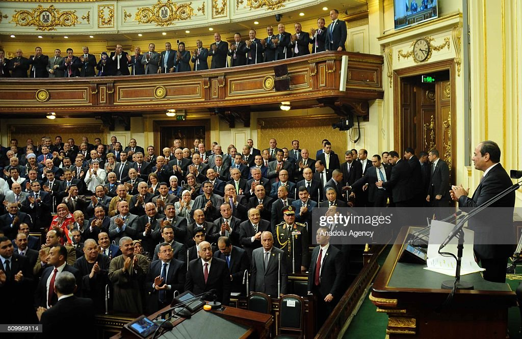 Egyptian President Abdel Fettah al-Sisi (R) delivers a speech during the new legislation opening session at the House of Representatives in Cairo, Egypt on February 13, 2016.