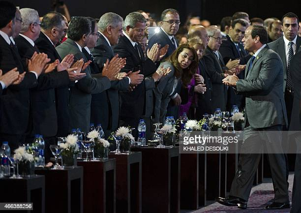 Egyptian President AbdelFattah alSisi arrives to the Egypt economic development conference at the congress hall in the Red Sea resort of Sharm...