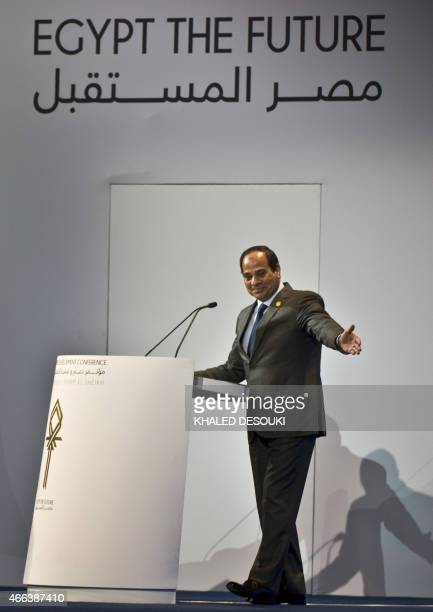 Egyptian President AbdelFattah alSisi gestures as he gives a speech at the end of the Egypt economic development conference at the congress hall in...