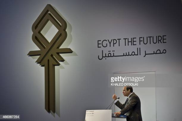 Egyptian President AbdelFattah alSisi gives a speech at the end of the Egypt economic development conference at the congress hall in the Red Sea...