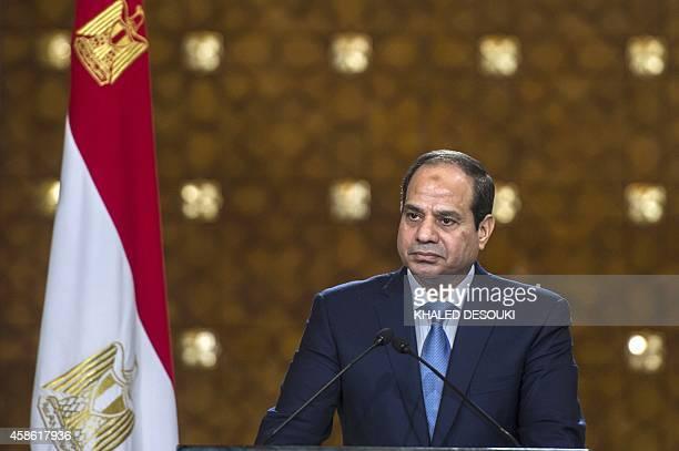Egyptian President AbdelFattah alSisi looks on during a meeting with Cyprus' President Nicos Anastasiades and Greek Prime Minister Antonis Samaras...
