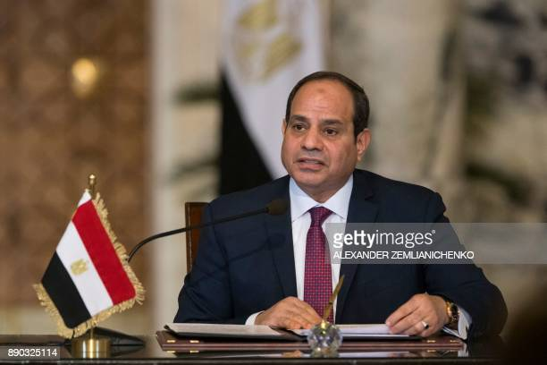 Egyptian President AbdelFattah alSissi attends a news conference following the talks with his Russian counterpart in Cairo on December 11 2017...
