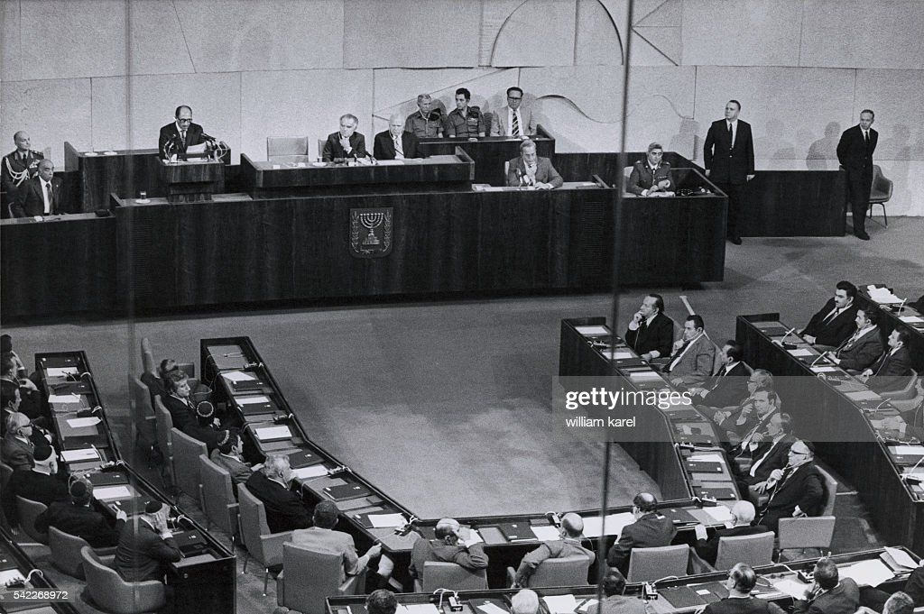 Egyptian President Anwar Sadat addresses the Israeli Knesset in JerusalemYitzhak Shamir on his right