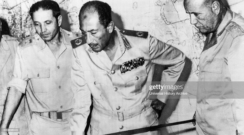 Egyptian President Anwar Sadat at military HQ during Egypt's attack on Israel during the October 1973 ArabIsraeli War