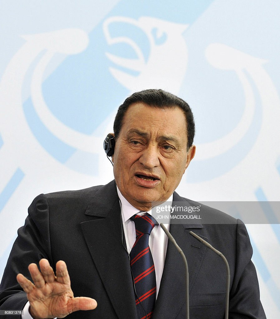 Egyptian President Hosni Mubarak addresses a press conference following talks with German Chancellor Angela Merkel at the chancellery in Berlin on April 23, 2008. They met for talks on the situation in the Middle East.