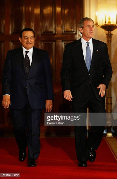 Egyptian President Hosni Mubarak attends a joint press conference with President George W Bush Mubarak is in the US for talks regarding the ongoing...