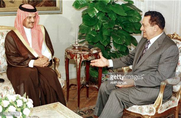 Egyptian President Hosni Mubarak chats with Saudi Foreign Minister Saud alFaisal during their meeting in Cairo 10 June Egypty and Saudi Arabia have...