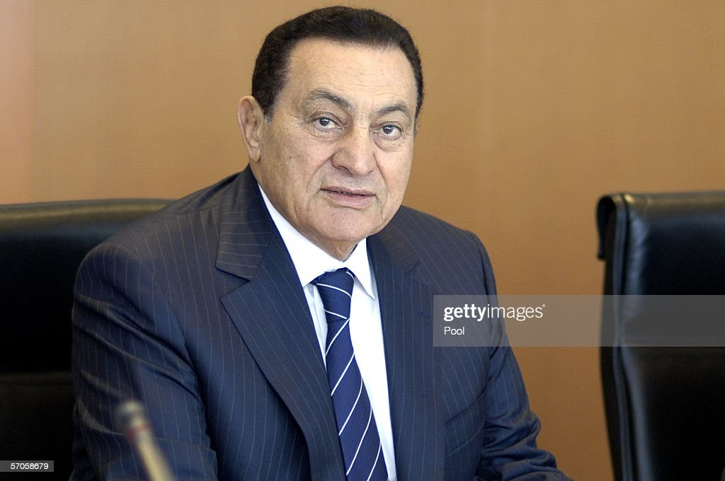 Egyptian President <a gi-track='captionPersonalityLinkClicked' href=/galleries/search?phrase=Hosni+Mubarak&family=editorial&specificpeople=201752 ng-click='$event.stopPropagation()'>Hosni Mubarak</a> is seen during a meeting with German Chancellor Angela Merkel at the chancellory March 11, 2006 in Berlin, Germany. Mubarak is on a three-day visit to Germany.