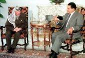 Egyptian President Hosni Mubarak meets Palestinian Authority President Yasser Arafat in Cairo 25 October Arafat heled an hour of talks with Mubarak...
