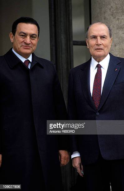 Egyptian President Hosni Mubarak meets President of France Francois Mitterrand at Elysee Palace on April 8 1993 in Paris France
