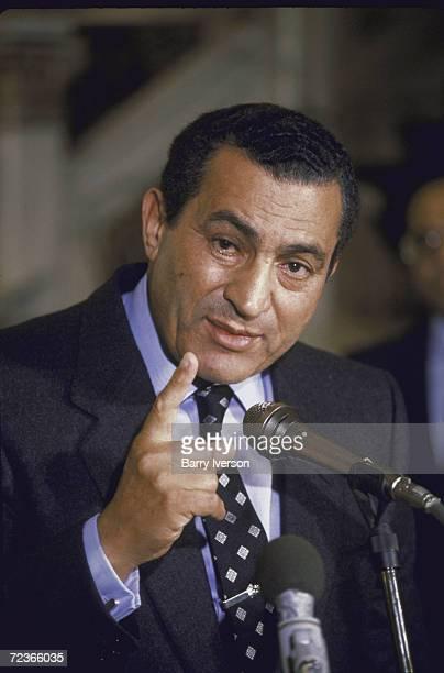 Egyptian President Husni Mubarak speaking to press after Egyptair flight 648 hijacking