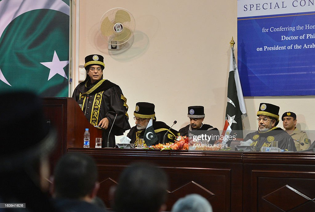Egyptian President Mohamed Morsi (R) listens a speech by Pakistani Prime Minister Raja Pervez Ashraf (L) during his visit the National University of Science and Technology in Islamabad on March 18, 2013. Morsi arrived in Pakistan on March 18, on a South Asian tour that will also take in India as he works to promote trade and investment in his nation's troubled economy. Morsi's one-day trip to Pakistan is the first by an Egyptian leader since Gamal Abdel Nasser in the 1960s, Pakistan's foreign ministry said.