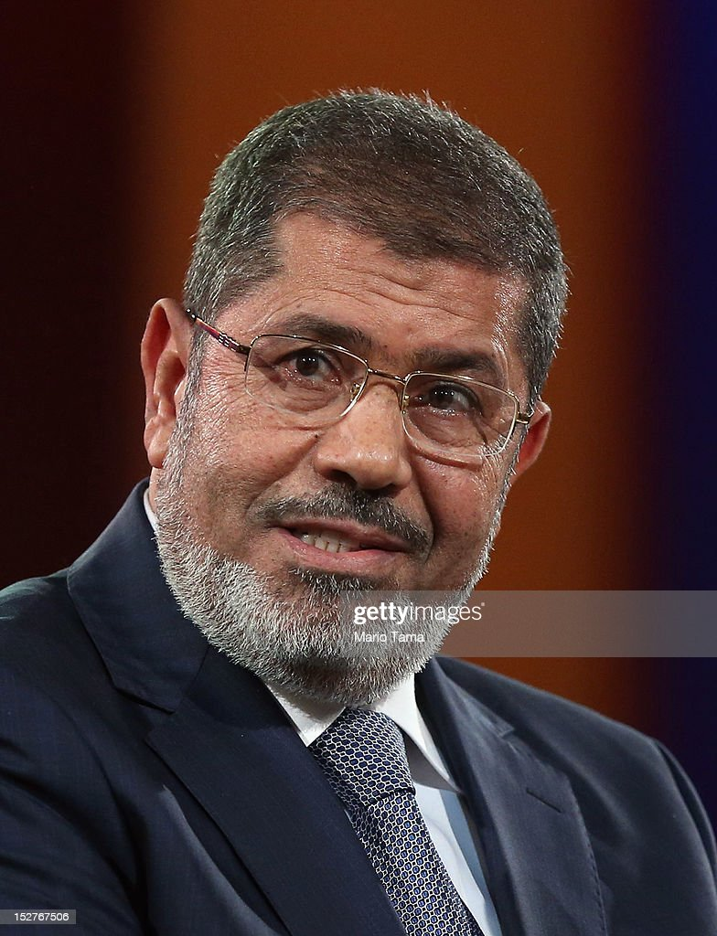 Egyptian President <a gi-track='captionPersonalityLinkClicked' href=/galleries/search?phrase=Mohamed+Morsi&family=editorial&specificpeople=7484676 ng-click='$event.stopPropagation()'>Mohamed Morsi</a> speaks at the Clinton Global Initiative meeting on September 25, 2012 in New York City. Timed to coincide with the United Nations General Assembly, CGI brings together heads of state, CEOs, philanthropists and others to help find solutions to the world's major problems.