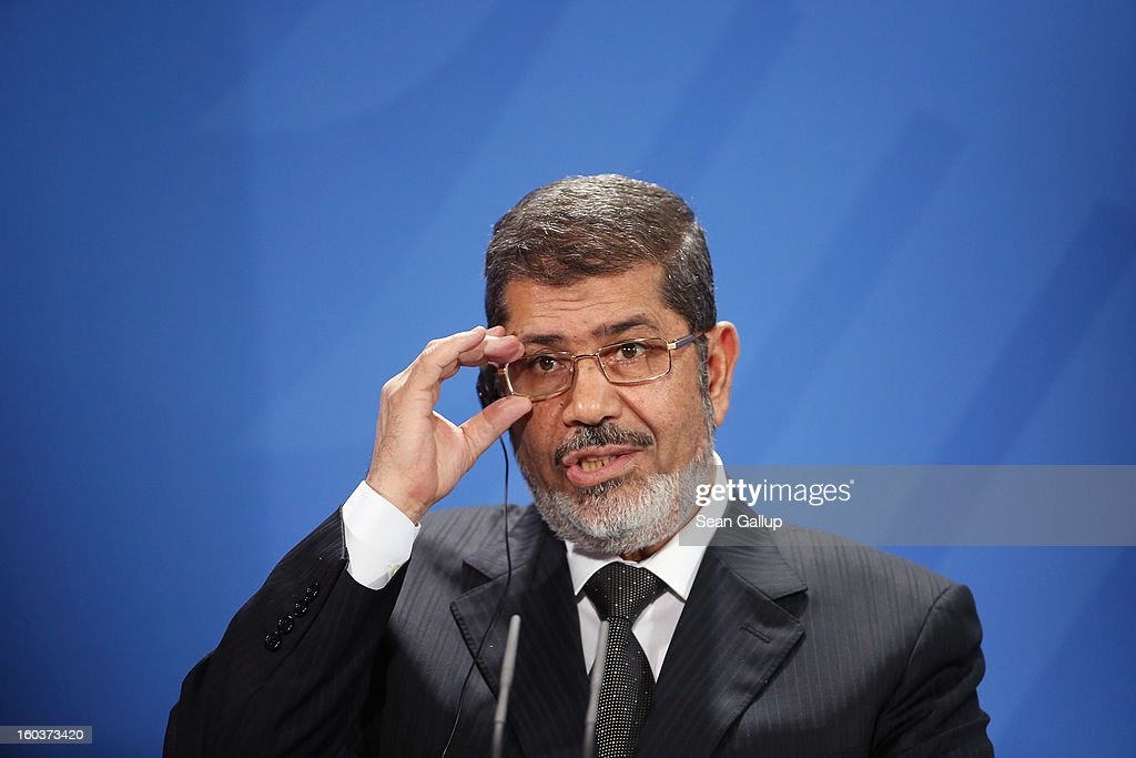 Egyptian President Mohamed Mursi speaks to the media with German Chancellor Angela Merkel (not pictured) following talks at the Chancellery on January 30, 2013 in Berlin, Germany. Mursi has come to Berlin despite the ongoing violent protests in recent days in cities across Egypt that have left at least 50 people dead. Mursi is in Berlin to seek both political and financial support from Germany.